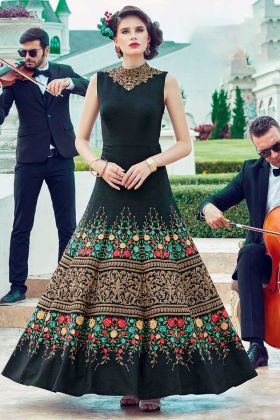 Party Wear Heavy Soft Banglori Silk Gown Black Color