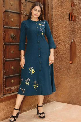 Party Wear Kurti In Embroidered Work With Teal Blue Color