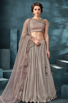 Party Wear Lehenga Choli Fancy Lycra In Nude Pink