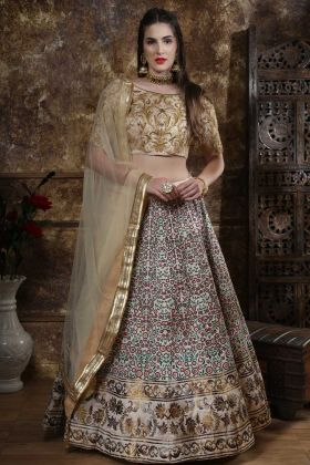 Party Wear Lehenga Choli Thai Silk Beige Color