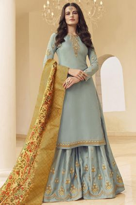 Party Wear Light Grey Maslin Satin Georgette Sharara Salwar Suit
