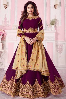 Party Wear Magenta Georgette Anarkali Style Salwar Kameez