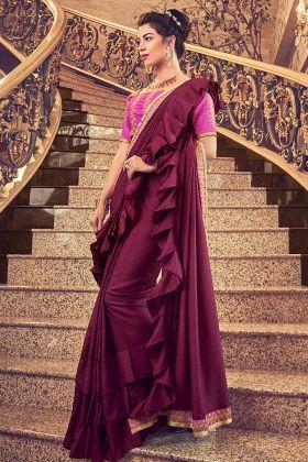 Party Wear Maroon Vichitra Silk Ruffle Saree