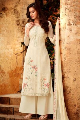 Party Wear Palazzo Suit Pure Cream Color With Pure Viscose Bemberg Georgette Fabric