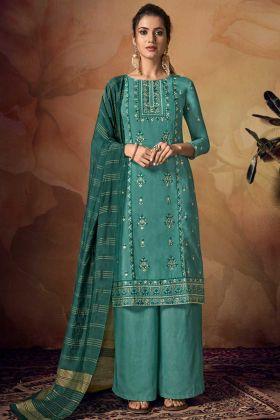 Party Wear Palazzo Teal Green Banarasi Viscose Fabric