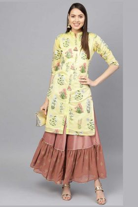 Party Wear Printed Pair Of Kurta And Pant In Yellow And Brown