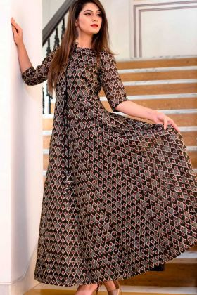 Party Wear Pure Muslin Gown Brown Color In Digital Printed