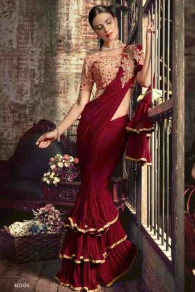 Party Wear Red Color Ruffel Saree