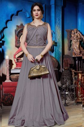 Party Wear Rosy Brown Soft Silk Gown