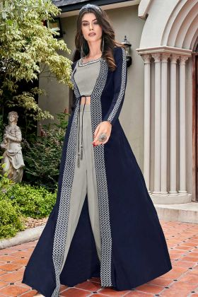 Party Wear Salwar Suit Grey Satin Silk With Off White Crepe Jacket