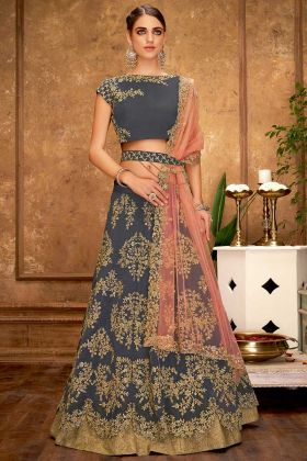 Party Wear Taffeta Silk Grey Lehenga With Fancy Choli