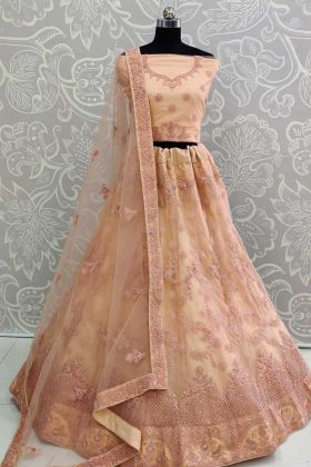 Partywear Designer Peach Embroidered Net Lehenga Choli