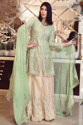 Partywear Eid Special Straight Salwar Suit In Pista Green