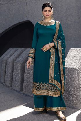 Partywear Embroidered Satin Georgette Plazo Suit In Dark Green