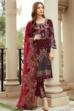 Partywear Maroon Foux Georgette Pakistani Suit Design