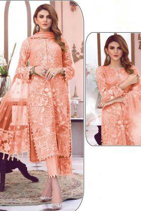 Partywear Orange ButterFly Net Pakistani Salwar Suit