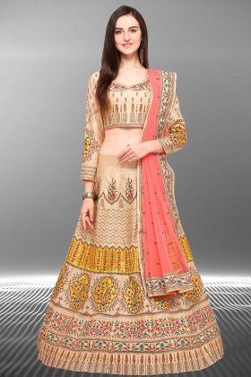 Partywear Barfi Silk Beige Designer Lehenga Choli With Net Dupatta