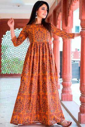 Partywear Designer Dark Coral Pure Muslin Gown