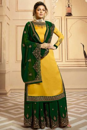 Partywear Designer Embroidery Mustard Georgette Satin Palazzo Suit