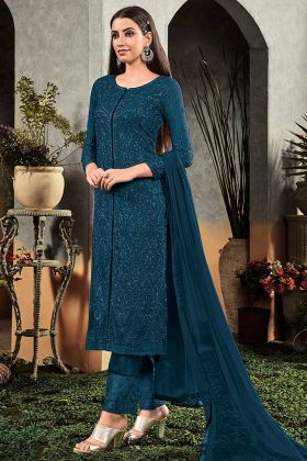 Partywear Embroidery Heavy Faux Georgette Rama Palazzo Suit
