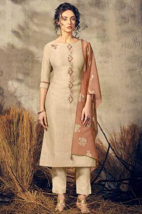 PartyWear Suit Beige Color Pair With Light Brown Color Foil Printed Viscose Dupatta