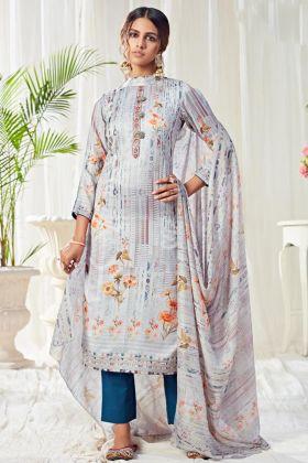 Pastel Blue Color Cotton Digital Printed Salwar Suit Collection For Summer