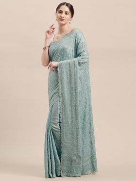 Pastel Blue color Designer Wedding Saree