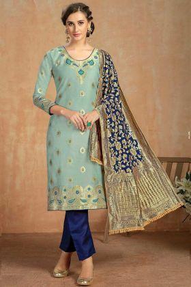 Pastel Green Cotton Jacquard Salwar Suit