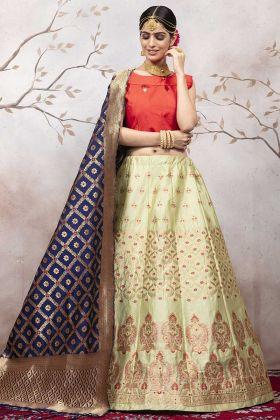 Pastel Green Jacqaurd Silk Lehenga For Women