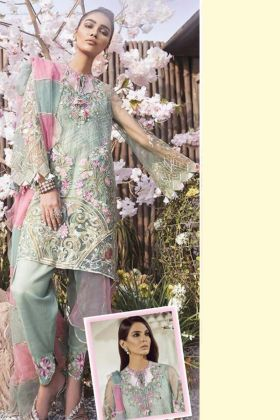 Pastel Green Most Demanding Butterfly Net Heavy Embroidered Pakistani Suit