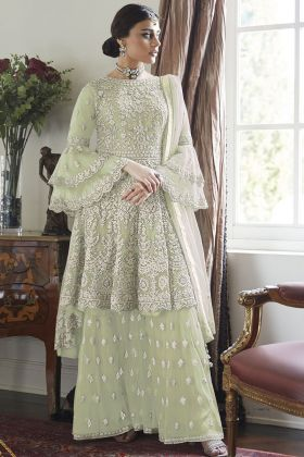 Pastel Green Pretty & Heavy Net Designe Sharara Suit