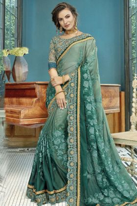 Pastel Green and Teal Green Georgette Saree