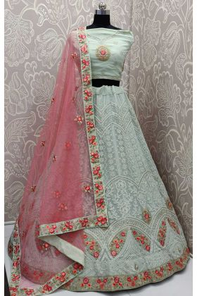 Pastel Green Color Georgette Designer Lehenga Choli With Sequence Work