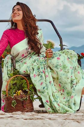 Pastel Green Color Printed Work Soft Linen Traditional Saree