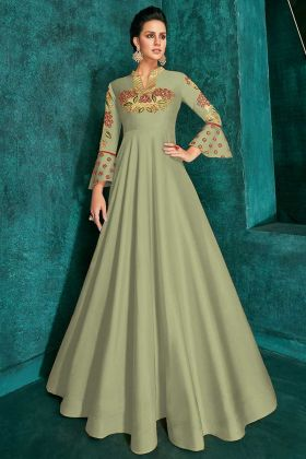 Pastel Green Color Resham Embroidery Work Soft Art Silk Gown