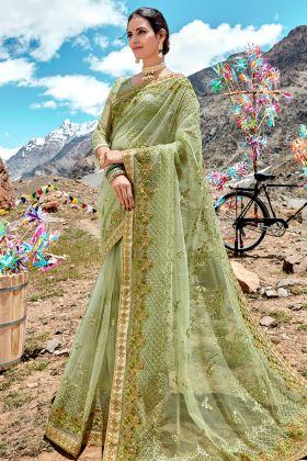 Pastel Green Designer Saree Online