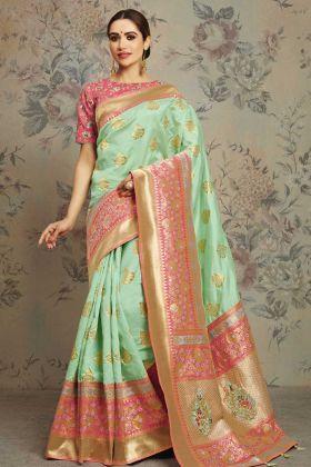 Pastel Green Fancy Saree Online