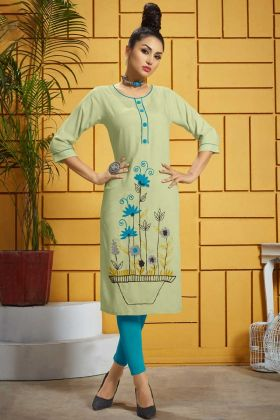 Pastel Green Rayon Fancy Kurti