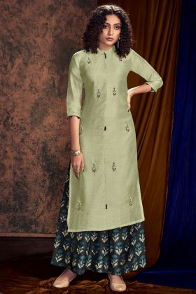 Pastel Green Satin Cotton Palazzo Kurti Set With Printed Work