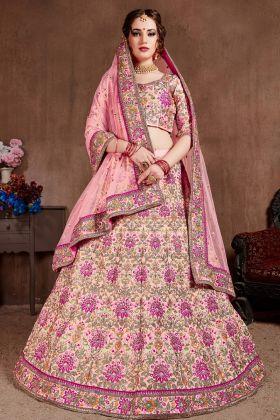 Pastel Pink Bridal Lehenga Choli Online
