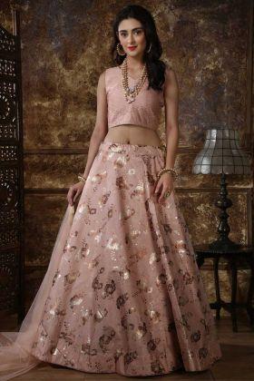 Pastel Pink Color Art Silk Designer Lehenga Choli With Net Dupatta