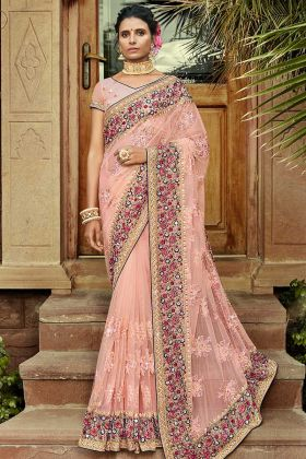 Pastel Pink Party Wear Saree In Net Fabric