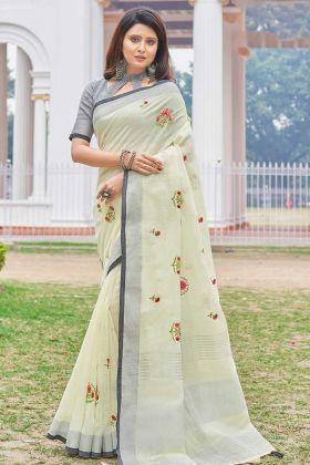 Pastel Yellow Wedding Linen Cotton Fancy Saree