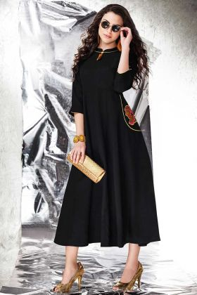 PatchWork Cotton Slub Black Party Wear Gown
