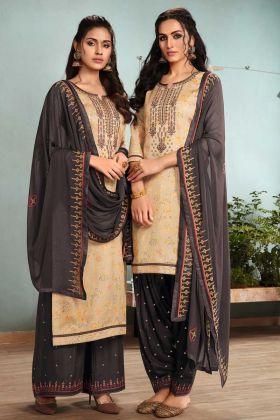 Patiala Salwar Rayon Beige Color With Satin Cotton Kameez