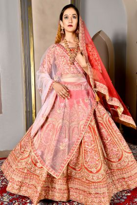 Pattern Silk Bride Red Bridal Lehenga Choli