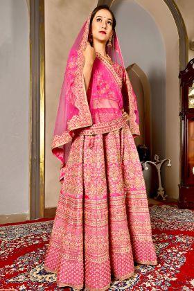 Pattern Silk Pink Bridal Lehenga Choli