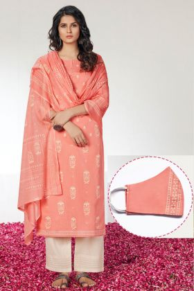 Peach Block Prints Dress Material Cotton With Mask