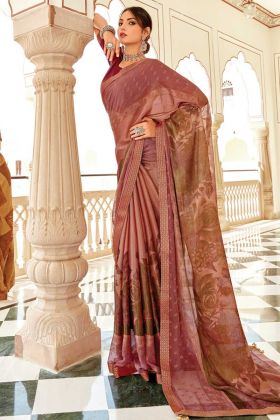 Peach Color Brasso Silk Beautiful Floral Design Saree