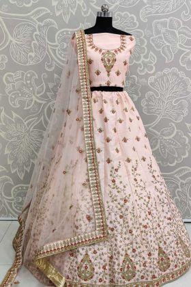 Peach Color Bridal Embroidered Lehenga Choli In Malai Silk